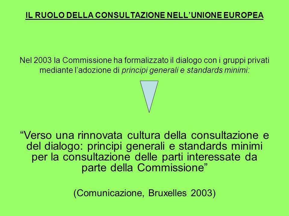 IL RUOLO DELLA CONSULTAZIONE NELL'UNIONE EUROPEA Nel 2003 la Commissione ha formalizzato il dialogo con i gruppi privati mediante l'adozione di principi generali e standards minimi: Verso una rinnovata cultura della consultazione e del dialogo: principi generali e standards minimi per la consultazione delle parti interessate da parte della Commissione (Comunicazione, Bruxelles 2003)