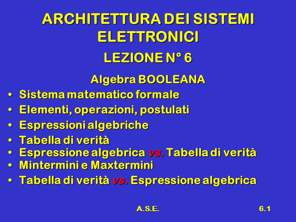 A.S.E.6.1 ARCHITETTURA DEI SISTEMI ELETTRONICI LEZIONE N° 6 Algebra BOOLEANA Sistema matematico formaleSistema matematico formale Elementi, operazioni, postulatiElementi, operazioni, postulati Espressioni algebricheEspressioni algebriche Tabella di veritàTabella di verità Espressione algebrica vs.