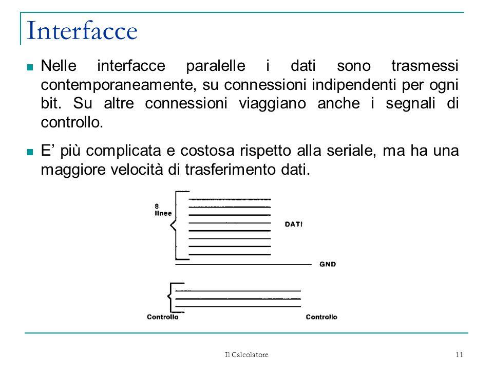 Il Calcolatore 11 Interfacce Nelle interfacce paralelle i dati sono trasmessi contemporaneamente, su connessioni indipendenti per ogni bit. Su altre c