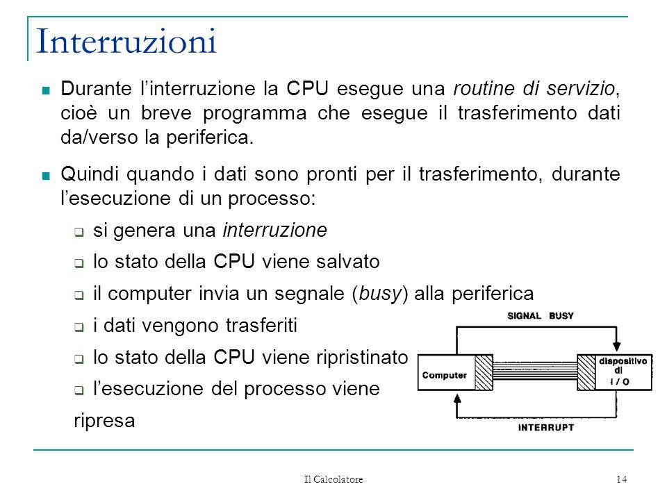 Il Calcolatore 14 Interruzioni Durante l'interruzione la CPU esegue una routine di servizio, cioè un breve programma che esegue il trasferimento dati da/verso la periferica.
