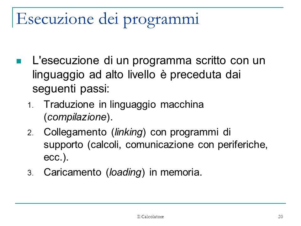 Il Calcolatore 20 Esecuzione dei programmi L esecuzione di un programma scritto con un linguaggio ad alto livello è preceduta dai seguenti passi: 1.