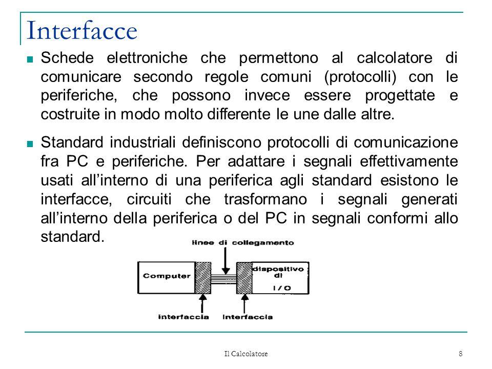 Il Calcolatore 8 Interfacce Schede elettroniche che permettono al calcolatore di comunicare secondo regole comuni (protocolli) con le periferiche, che