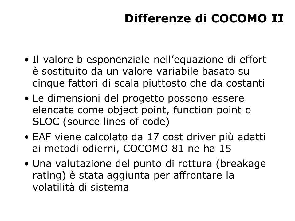 Differenze di COCOMO II Il valore b esponenziale nell'equazione di effort è sostituito da un valore variabile basato su cinque fattori di scala piutto