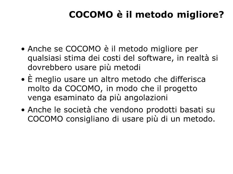 COCOMO è il metodo migliore? Anche se COCOMO è il metodo migliore per qualsiasi stima dei costi del software, in realtà si dovrebbero usare più metodi