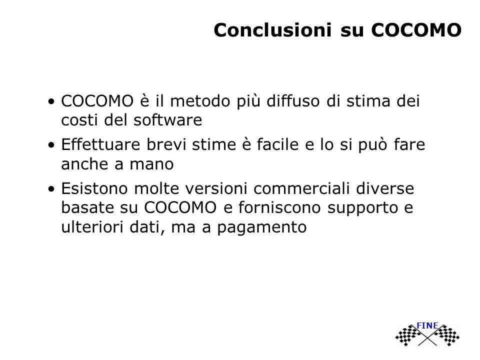 Conclusioni su COCOMO COCOMO è il metodo più diffuso di stima dei costi del software Effettuare brevi stime è facile e lo si può fare anche a mano Esi