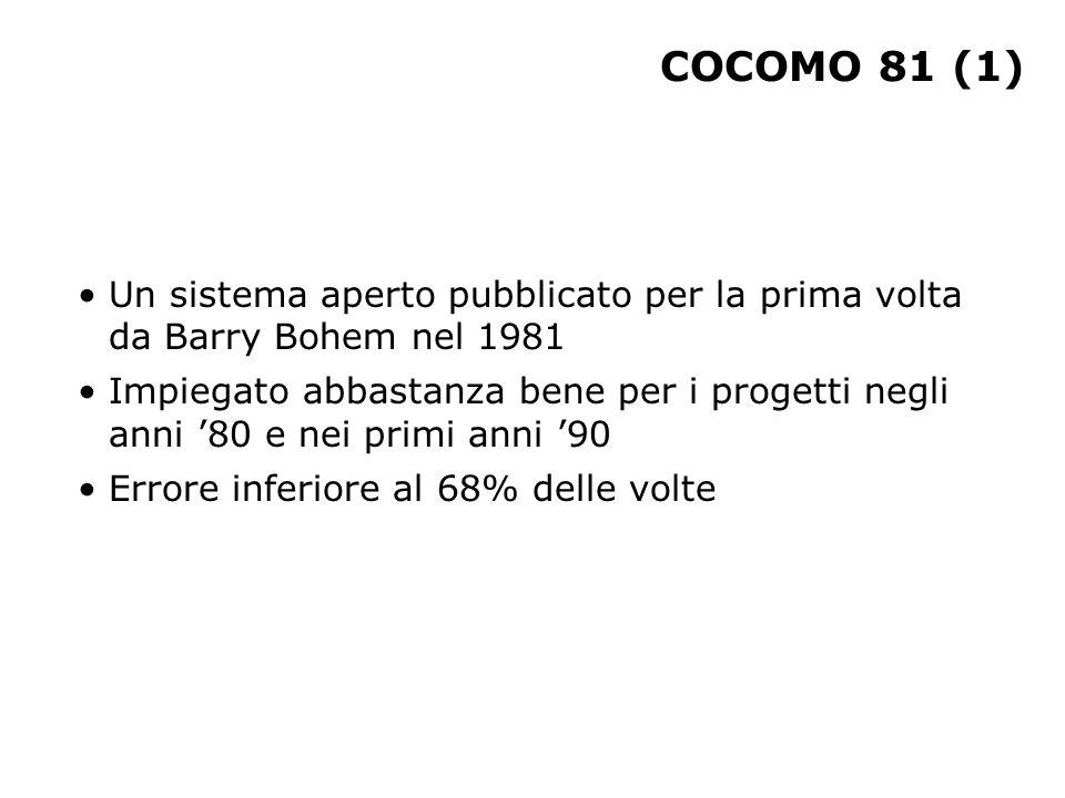 COCOMO 81 (1) Un sistema aperto pubblicato per la prima volta da Barry Bohem nel 1981 Impiegato abbastanza bene per i progetti negli anni '80 e nei pr