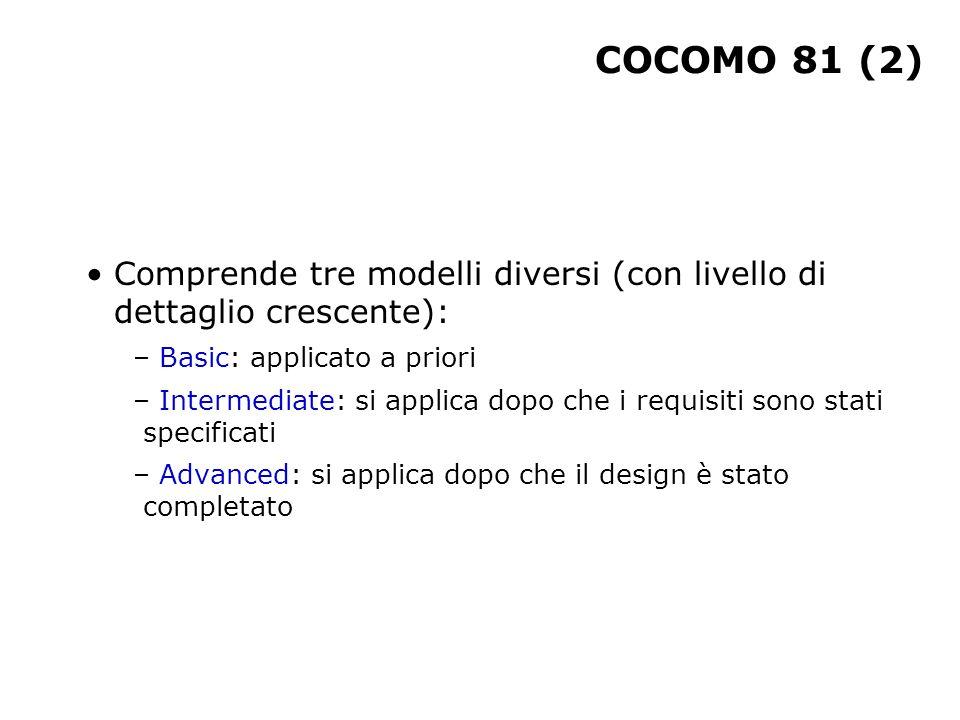 COCOMO 81 (2) Comprende tre modelli diversi (con livello di dettaglio crescente): – Basic: applicato a priori – Intermediate: si applica dopo che i re