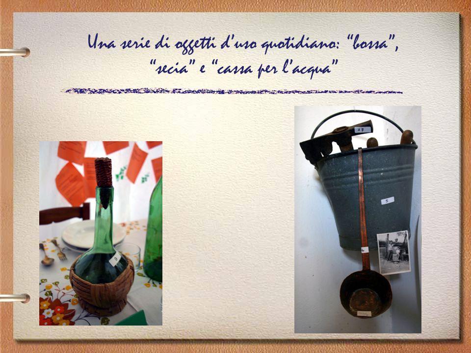 Una serie di oggetti d'uso quotidiano: bossa , secia e cassa per l'acqua