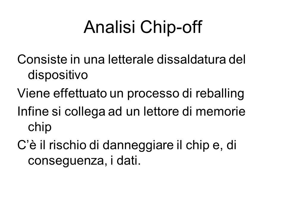 Analisi Chip-off Consiste in una letterale dissaldatura del dispositivo Viene effettuato un processo di reballing Infine si collega ad un lettore di m