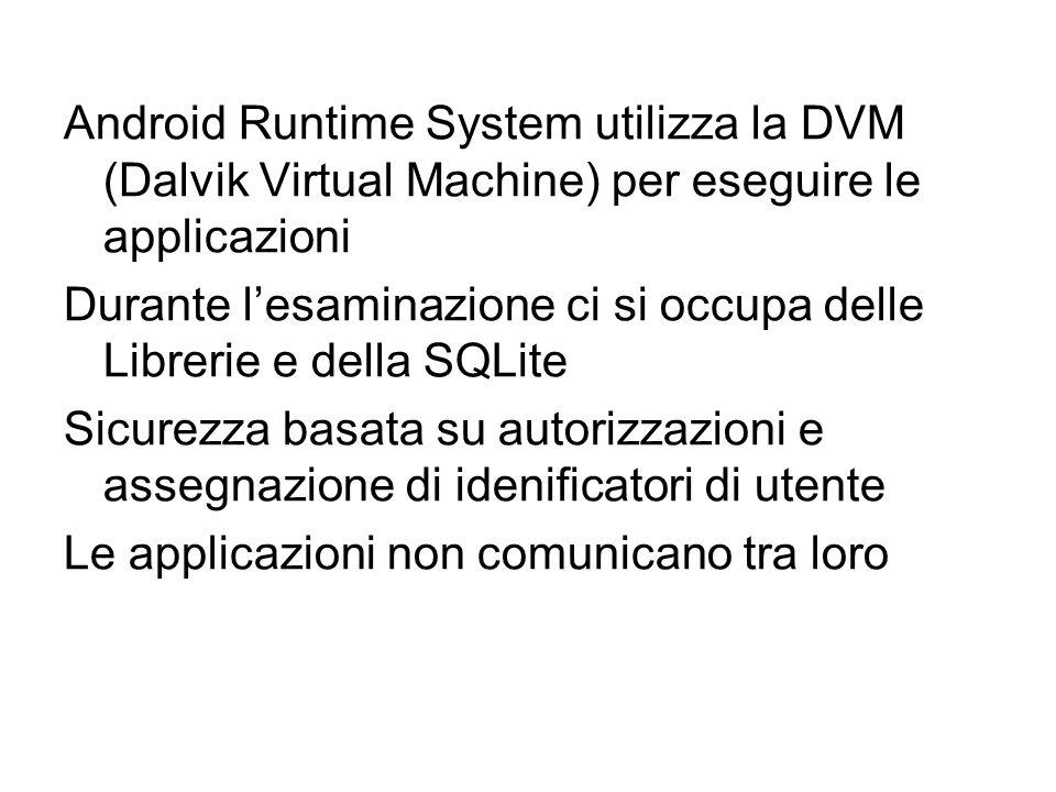Android Runtime System utilizza la DVM (Dalvik Virtual Machine) per eseguire le applicazioni Durante l'esaminazione ci si occupa delle Librerie e dell