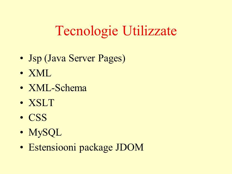 Tecnologie Utilizzate Jsp (Java Server Pages) XML XML-Schema XSLT CSS MySQL Estensiooni package JDOM
