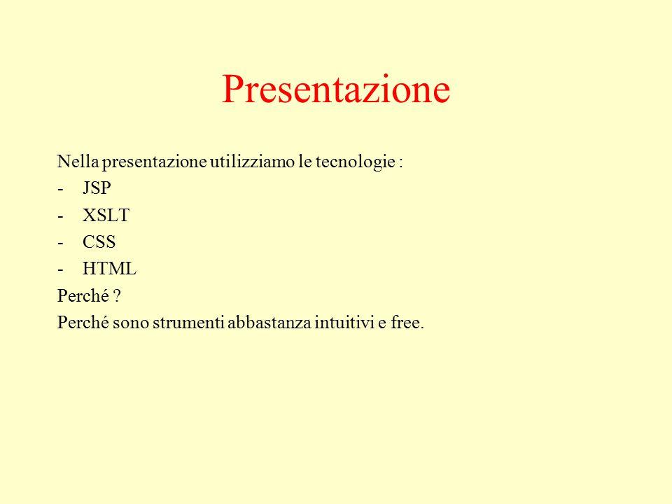 Presentazione Nella presentazione utilizziamo le tecnologie : -JSP -XSLT -CSS -HTML Perché .