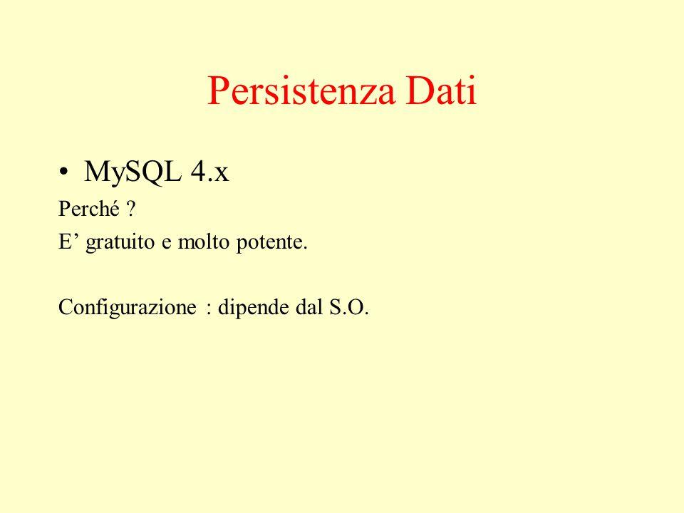 Persistenza Dati MySQL 4.x Perché E' gratuito e molto potente. Configurazione : dipende dal S.O.
