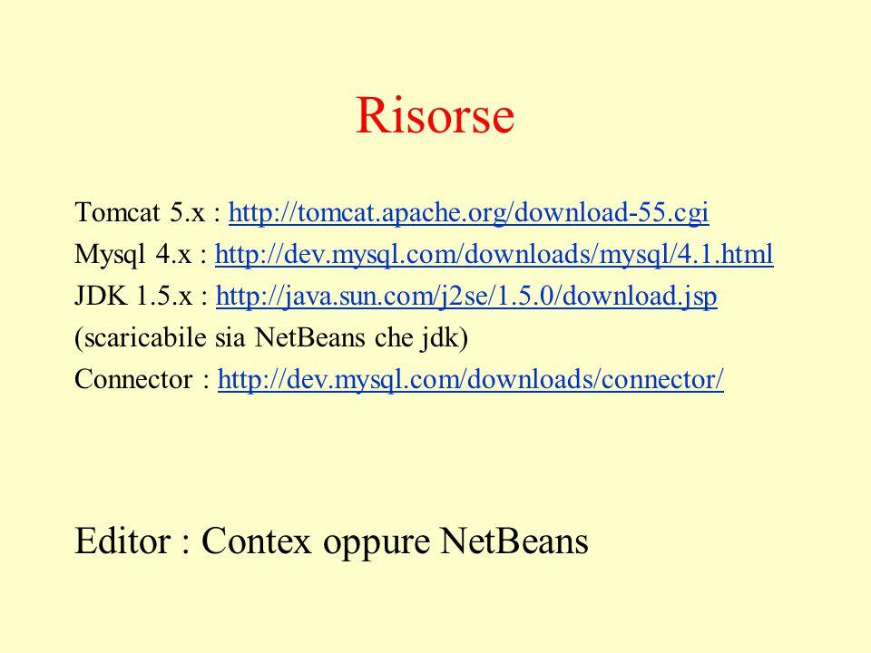 Problemi di percorso … I primi problemi possono essere iniziali : 1)Configurazione di base del sistema prima di iniziare … Soluzione : NetBeans ci aiuta inglobando una versione di Tomcat e un potente autocompletamento del codice Quindi prima di mettere mano su configurazioni di tomcat e altri programmi è consigliato NetBeans.