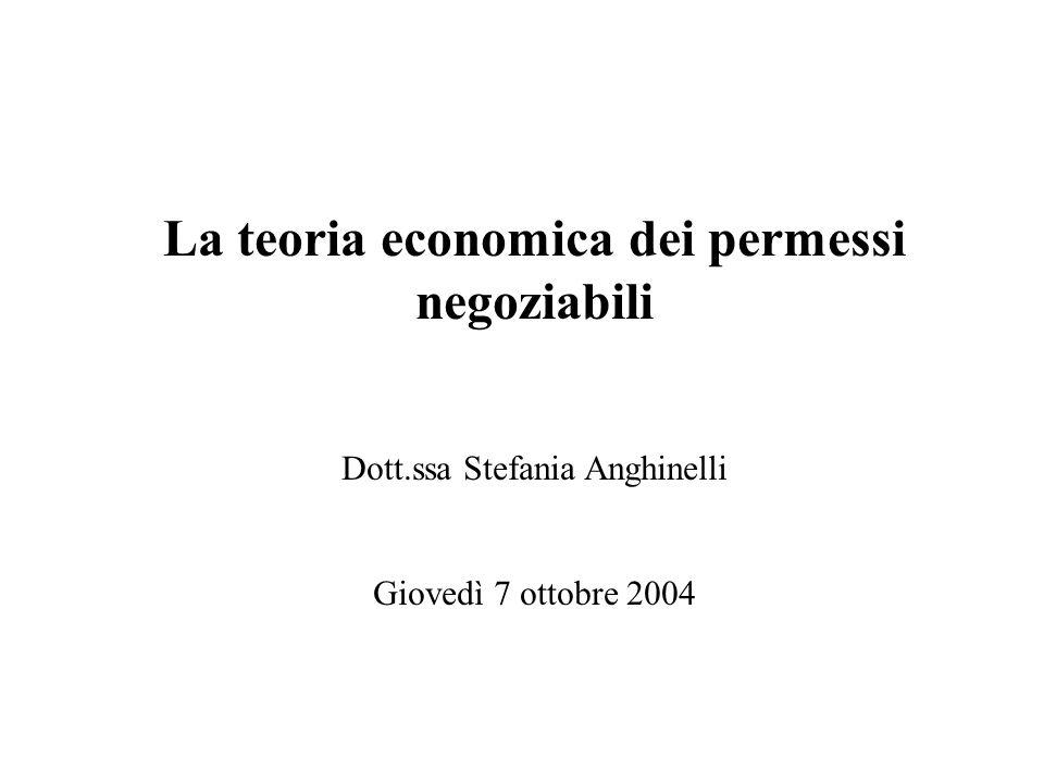 La teoria economica dei permessi negoziabili Dott.ssa Stefania Anghinelli Giovedì 7 ottobre 2004