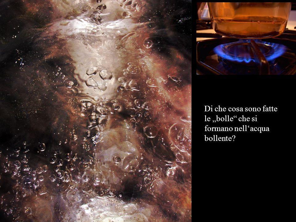 """Di che cosa sono fatte le """"bolle che si formano nell'acqua bollente?"""