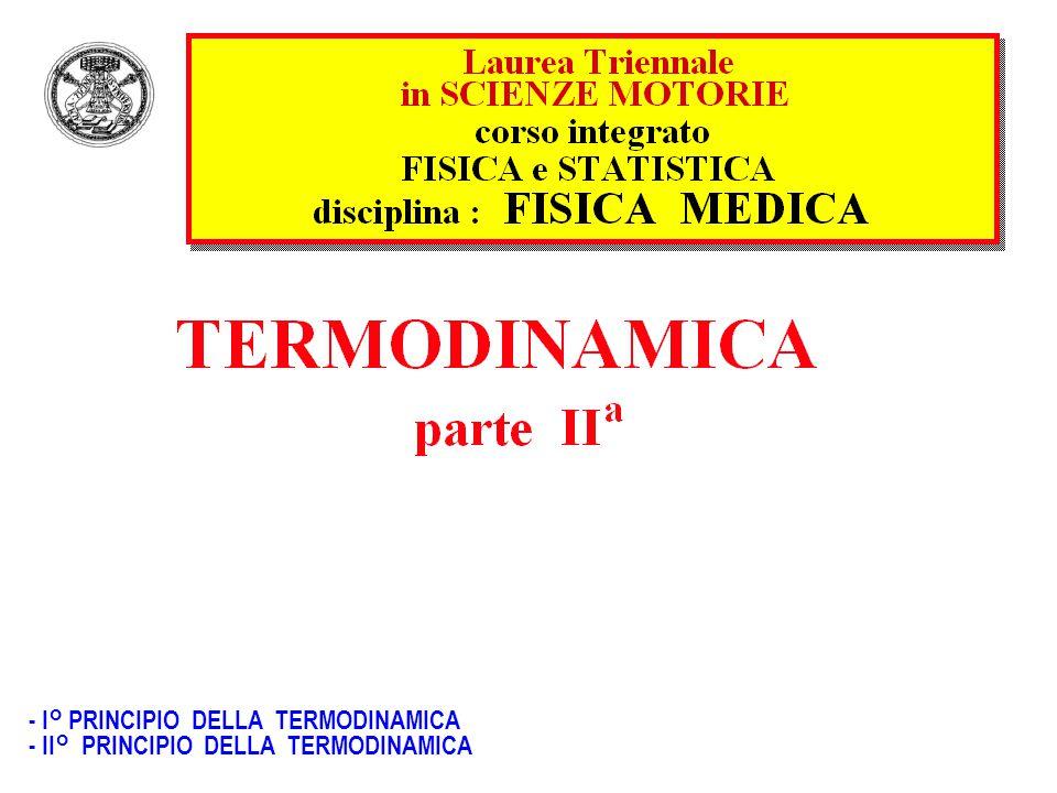 - I° PRINCIPIO DELLA TERMODINAMICA - II° PRINCIPIO DELLA TERMODINAMICA