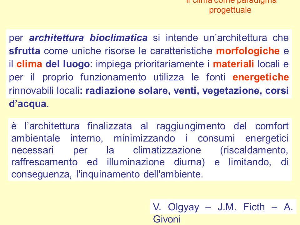 il clima come paradigma progettuale per architettura bioclimatica si intende un'architettura che sfrutta come uniche risorse le caratteristiche morfol