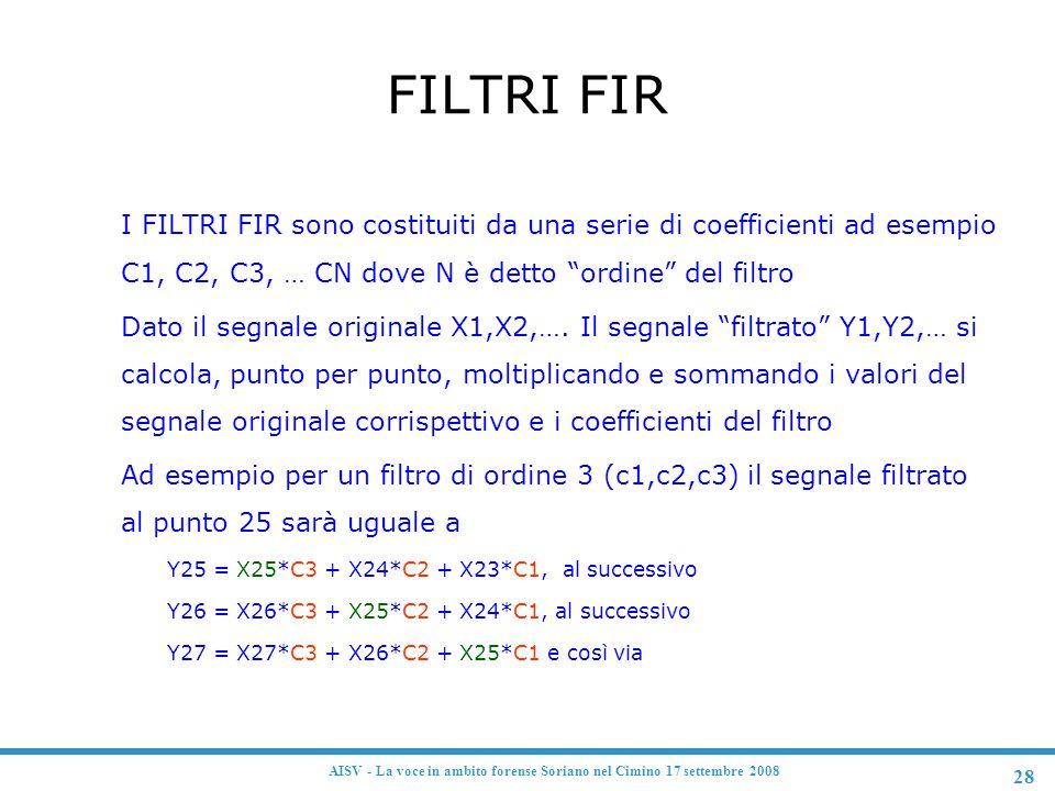 28 AISV - La voce in ambito forense Soriano nel Cimino 17 settembre 2008 FILTRI FIR F I FILTRI FIR sono costituiti da una serie di coefficienti ad ese