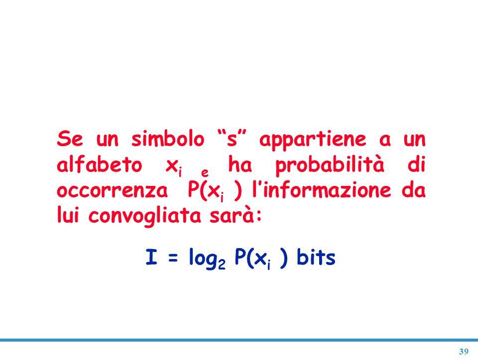 """39 Entropia del linguaggio articolato Se un simbolo """"s"""" appartiene a un alfabeto x i e ha probabilità di occorrenza P(x i ) l'informazione da lui conv"""