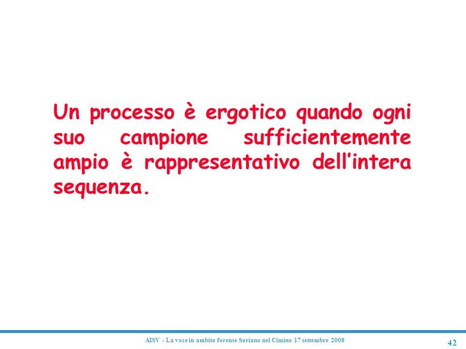 42 AISV - La voce in ambito forense Soriano nel Cimino 17 settembre 2008 Processo ergotico Un processo è ergotico quando ogni suo campione sufficiente