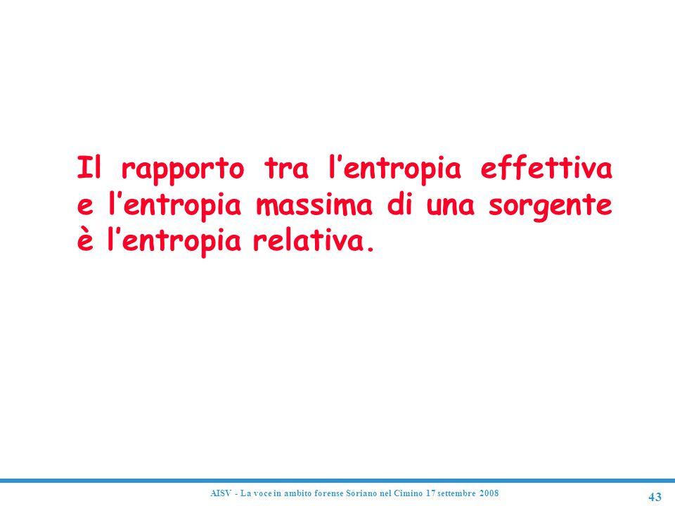 43 AISV - La voce in ambito forense Soriano nel Cimino 17 settembre 2008 Entropia relativa Il rapporto tra l'entropia effettiva e l'entropia massima d