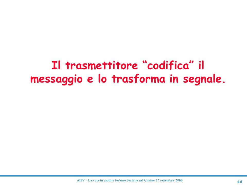 """46 AISV - La voce in ambito forense Soriano nel Cimino 17 settembre 2008 Codifica Il trasmettitore """"codifica"""" il messaggio e lo trasforma in segnale."""