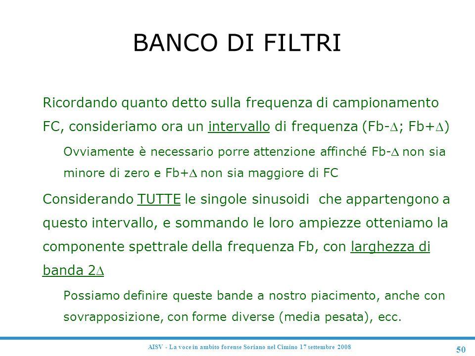 50 AISV - La voce in ambito forense Soriano nel Cimino 17 settembre 2008 BANCO DI FILTRI  Ricordando quanto detto sulla frequenza di campionamento FC
