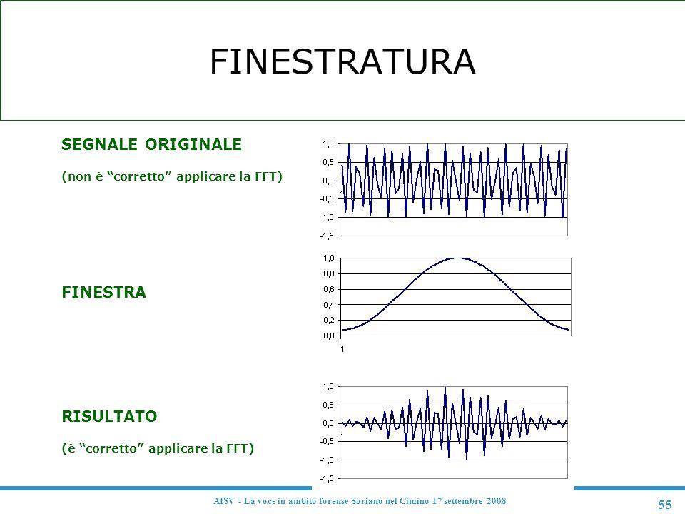 """55 AISV - La voce in ambito forense Soriano nel Cimino 17 settembre 2008 FINESTRATURA F SEGNALE ORIGINALE (non è """"corretto"""" applicare la FFT) F FINEST"""