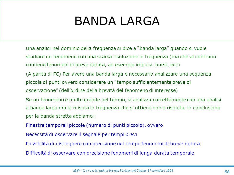 """58 AISV - La voce in ambito forense Soriano nel Cimino 17 settembre 2008 BANDA LARGA F Una analisi nel dominio della frequenza si dice a """"banda larga"""""""