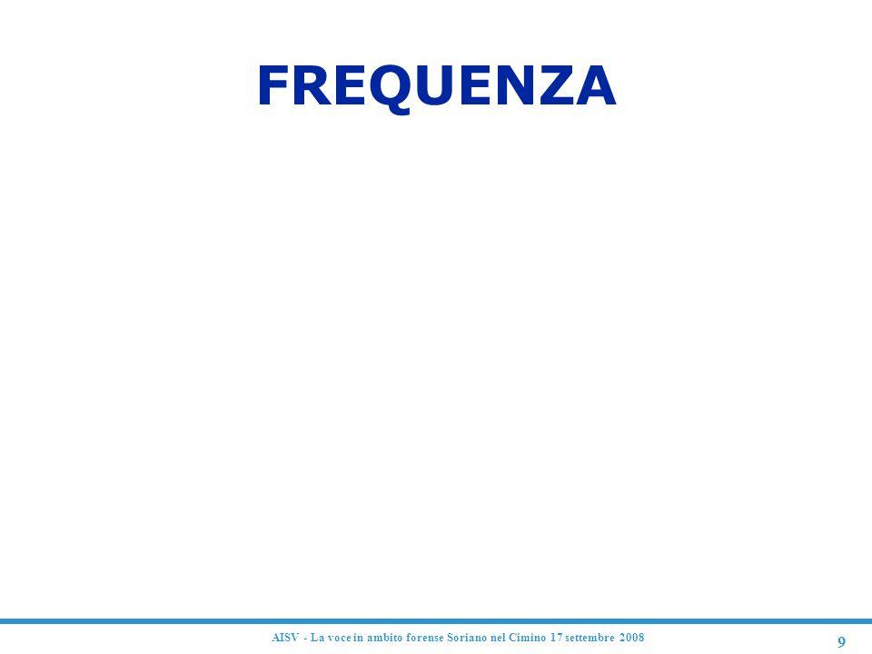 9 AISV - La voce in ambito forense Soriano nel Cimino 17 settembre 2008 FREQUENZA