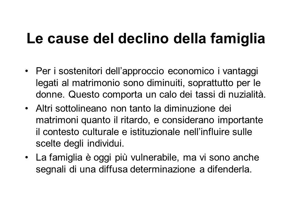 Le cause del declino della famiglia Per i sostenitori dell'approccio economico i vantaggi legati al matrimonio sono diminuiti, soprattutto per le donn