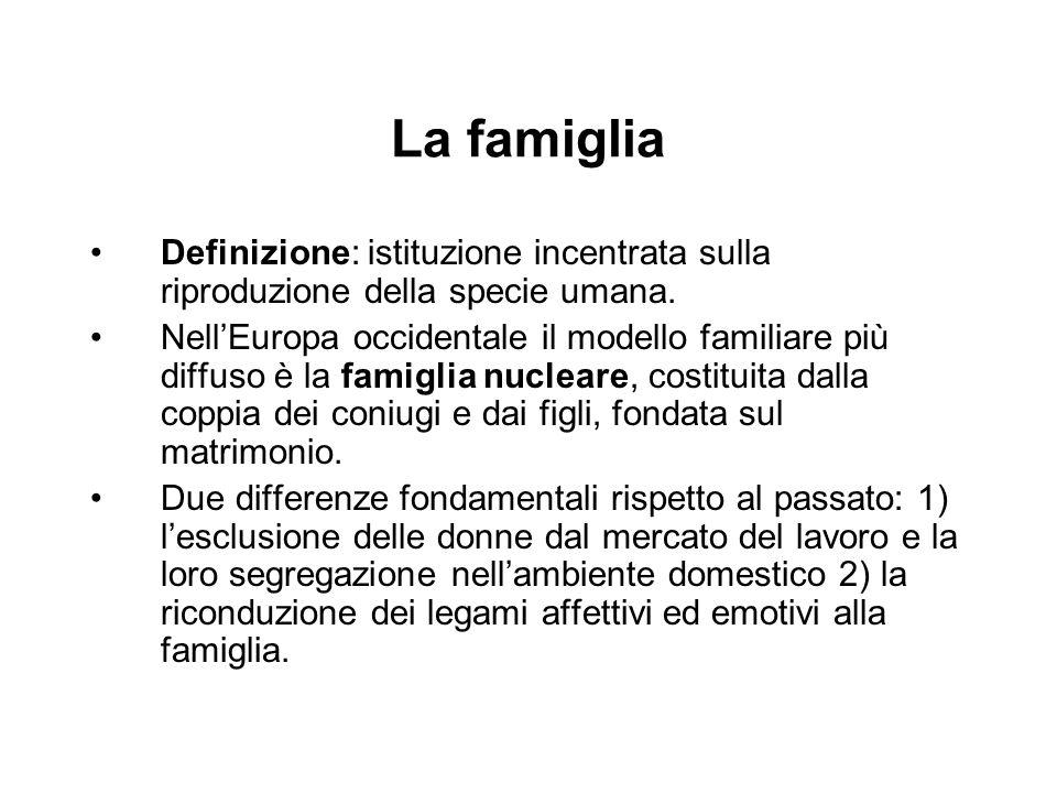 La famiglia Definizione: istituzione incentrata sulla riproduzione della specie umana. Nell'Europa occidentale il modello familiare più diffuso è la f