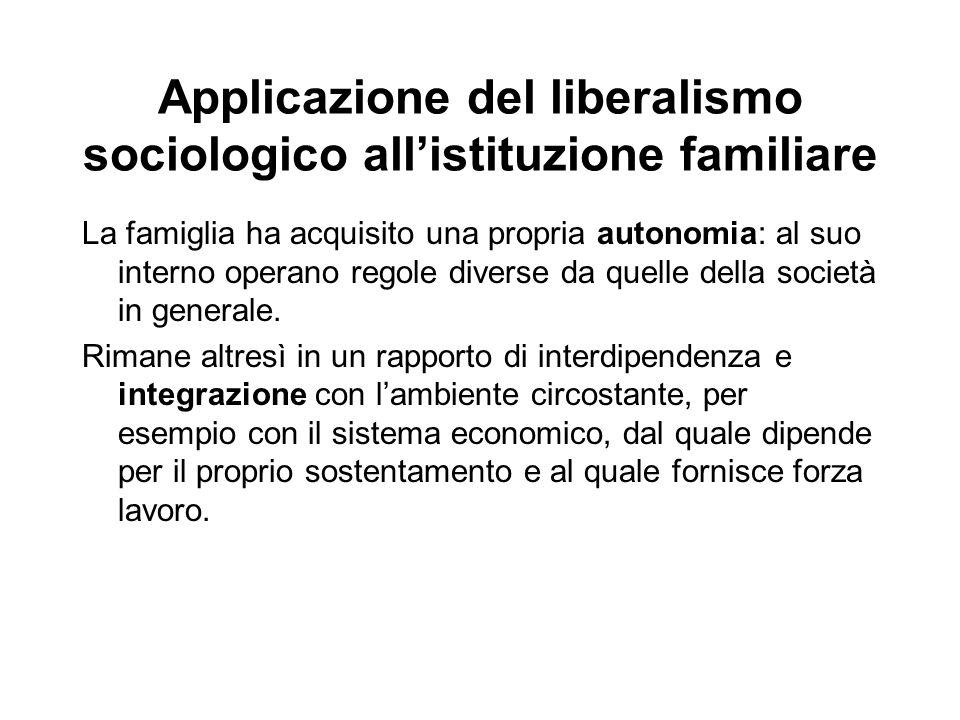 Applicazione del liberalismo sociologico all'istituzione familiare La famiglia ha acquisito una propria autonomia: al suo interno operano regole diver