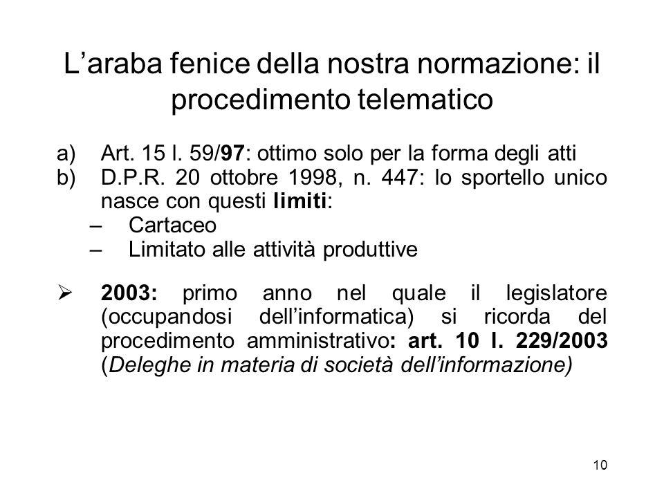 9 1991-93: lo sportello unico telematico (TELEAMMINISTRAZIONE) Solo ora (2006) è previsto nel codice p.a.