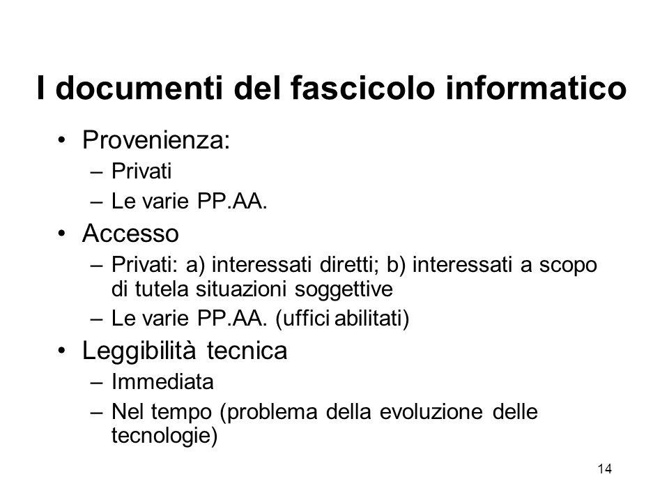 13 Il Dossier unico = fascicolo informatico Attuazione dei primi 3 capisaldi della teleamministrazione Nel 'Codice':41.