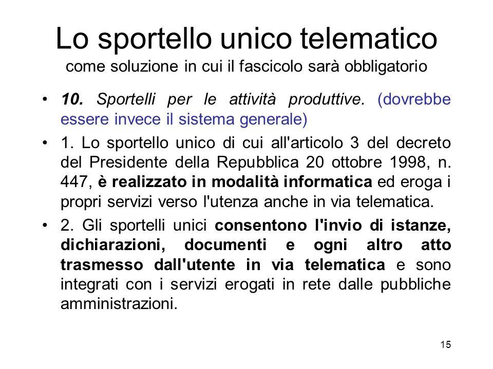 14 I documenti del fascicolo informatico Provenienza: –Privati –Le varie PP.AA.