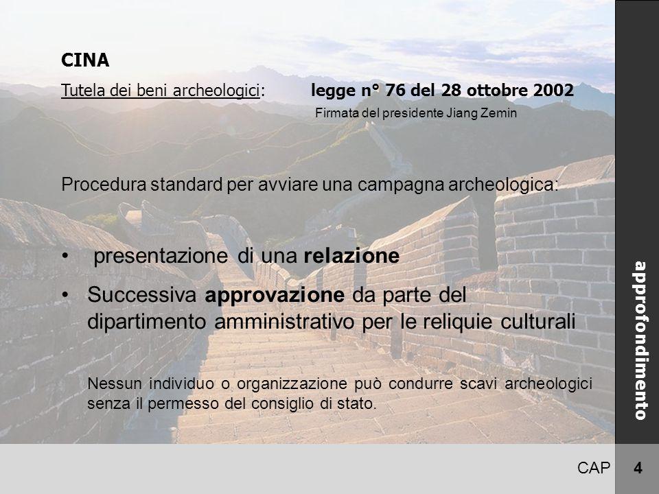 CAP 4 CINA approfondimento CINA Tutela dei beni archeologici: legge n° 76 del 28 ottobre 2002 Procedura standard per avviare una campagna archeologica