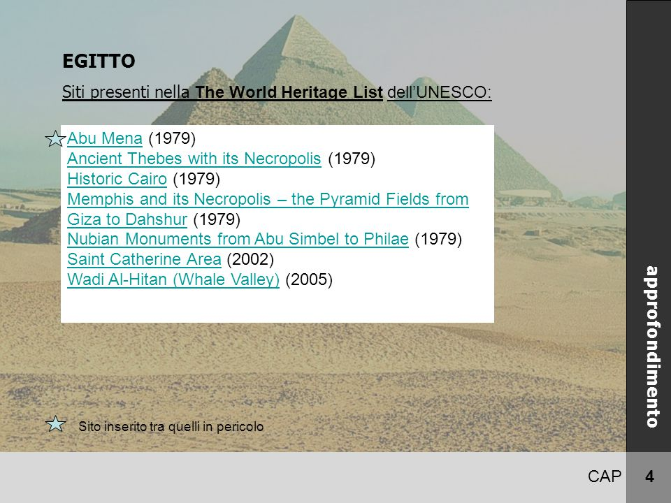 CAP 4 EGITTO Siti presenti nella The World Heritage List dell'UNESCO: approfondimento Abu MenaAbu Mena (1979) Ancient Thebes with its NecropolisAncien
