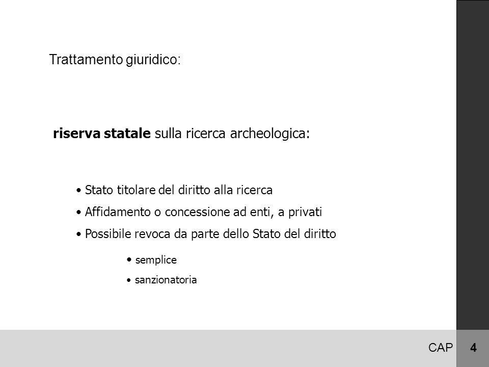 Trattamento giuridico: riserva statale sulla ricerca archeologica: CAP 4 Stato titolare del diritto alla ricerca Affidamento o concessione ad enti, a