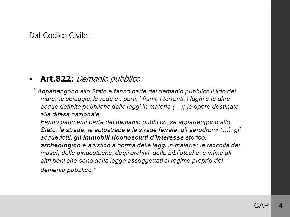 """CAP 4 Dal Codice Civile: Art.822: Demanio pubblico """" Appartengono allo Stato e fanno parte del demanio pubblico il lido del mare, la spiaggia, le rade"""