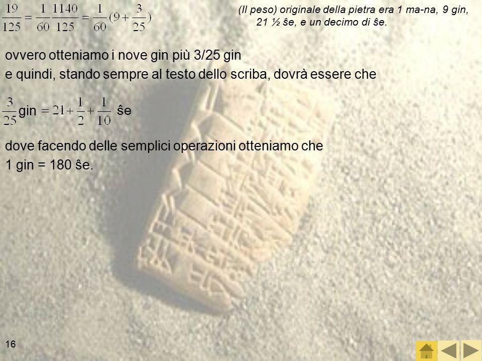 16 ovvero otteniamo i nove gin più 3/25 gin e quindi, stando sempre al testo dello scriba, dovrà essere che (Il peso) originale della pietra era 1 ma-na, 9 gin, 21 ½ ŝe, e un decimo di ŝe.