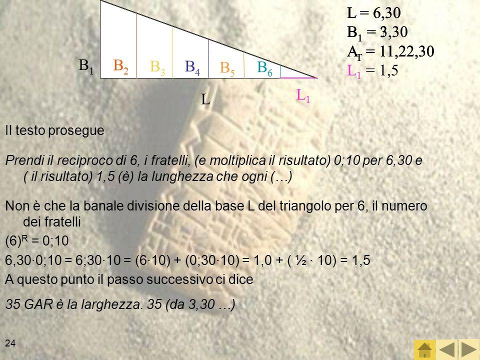 24 Il testo prosegue L = 6,30 B 1 = .