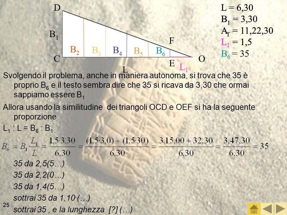 25 Svolgendo il problema, anche in maniera autonoma, si trova che 35 è proprio B 6 e il testo sembra dire che 35 si ricava da 3,30 che ormai sappiamo essere B 1 L = 6,30 B 1 = 3,30 A T = 11,22,30 L 1 = 1,5 B 6 = 35 Allora usando la similitudine dei triangoli OCD e OEF si ha la seguente proporzione L 1 : L = B 6 : B 1 35 da 2,5(5…) 35 da 2,2(0…) 35 da 1,4(5…) sottrai 35 da 1,10 (…) sottrai 35, e la lunghezza [?] (…) L = 6,30 B 1 = 3,30 A T = 11,22,30 L 1 = 1,5 OC D F E L1L1 L B1B1 B2B2 B3B3 B4B4 B5B5 B6B6