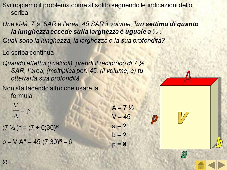 33 Sviluppiamo il problema come al solito seguendo le indicazioni dello scriba Una ki-lá.
