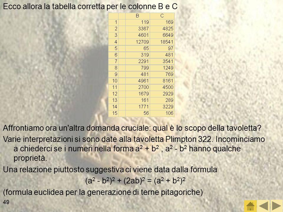 49 Ecco allora la tabella corretta per le colonne B e C Affrontiamo ora un altra domanda cruciale: qual è lo scopo della tavoletta.