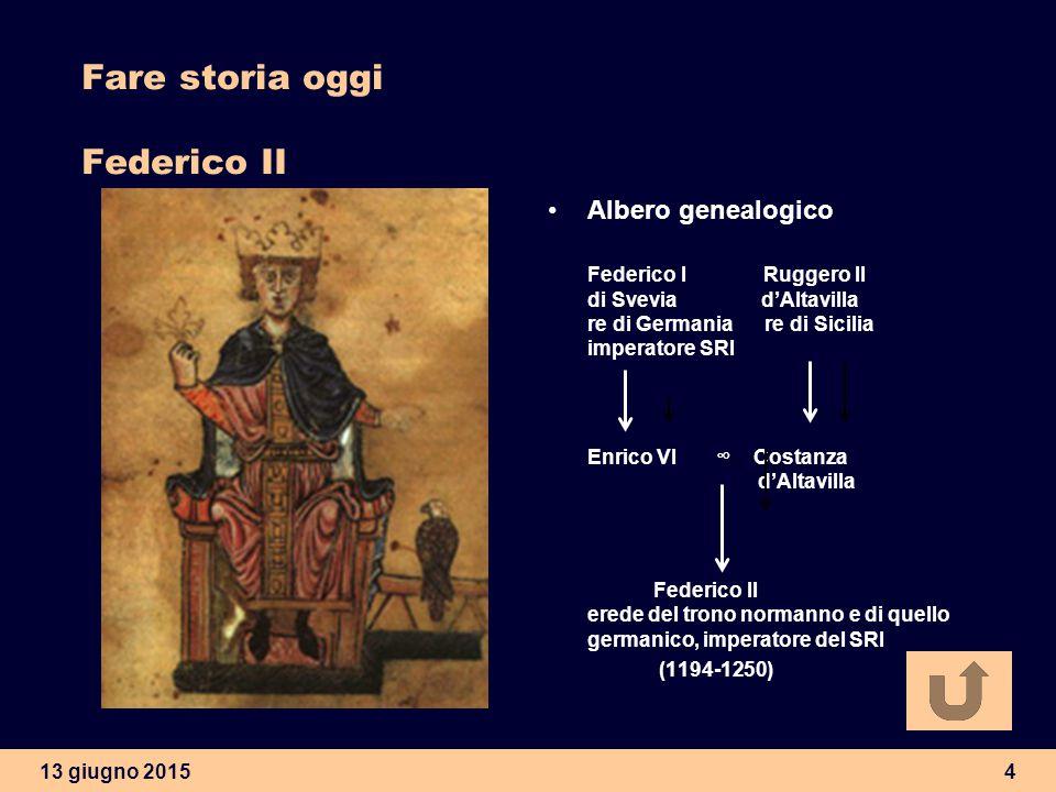 13 giugno 20154 Fare storia oggi Federico II Albero genealogico Federico I Ruggero II di Svevia d'Altavilla re di Germania re di Sicilia imperatore SR