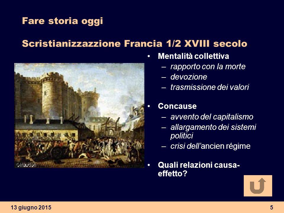 13 giugno 20155 Fare storia oggi Scristianizzazzione Francia 1/2 XVIII secolo Mentalità collettiva –rapporto con la morte –devozione –trasmissione dei