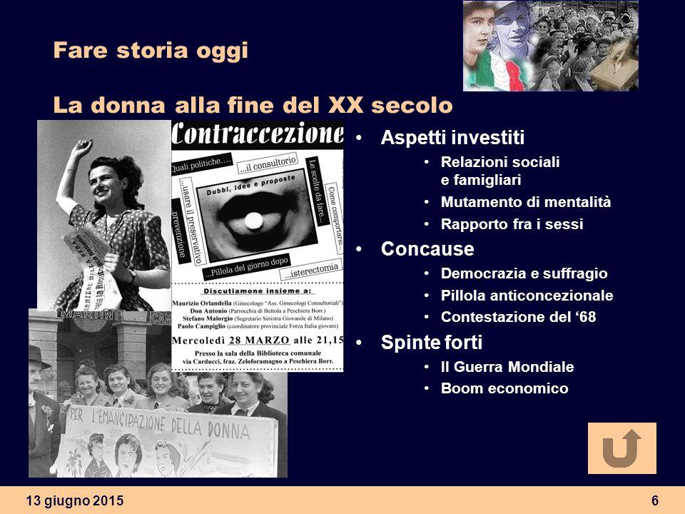 13 giugno 20156 Fare storia oggi La donna alla fine del XX secolo Aspetti investiti Relazioni sociali e famigliari Mutamento di mentalità Rapporto fra