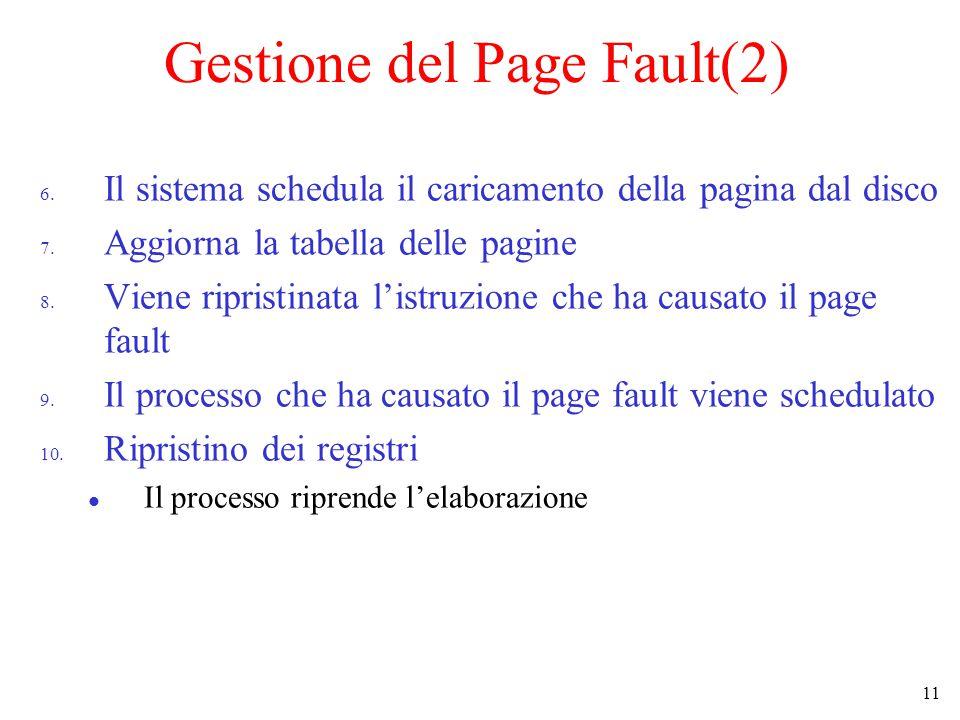 11 Gestione del Page Fault(2) 6. Il sistema schedula il caricamento della pagina dal disco 7.